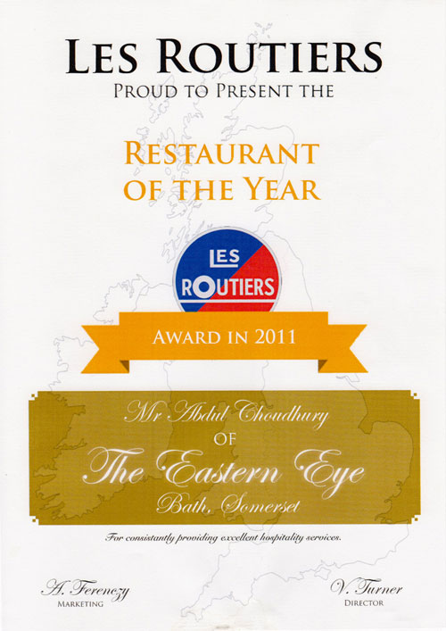 Eastern Eye Bath - Restaurant of the Year Les Routiers