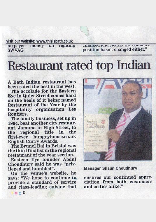 July 2011 - Eastern Eye Bath - Indian Food