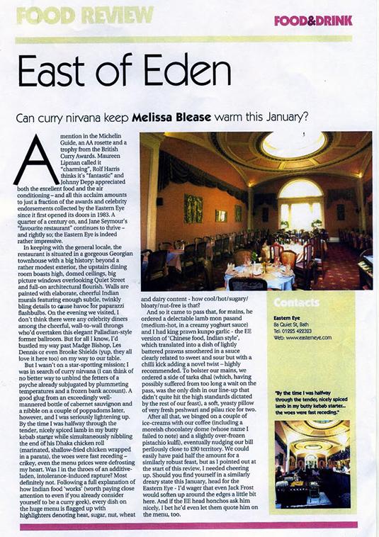 Venue Magazine review - Eastern Eye Bath - Indian Food
